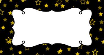 Editable Teacher Toolbox Labels - Star Confetti (Black Background)