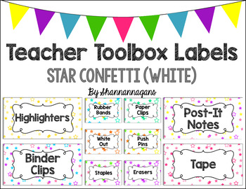 Editable Teacher Toolbox Labels - Star Confetti (White Background)