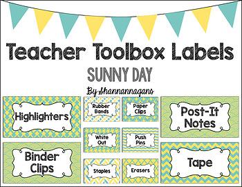 Editable Teacher Toolbox Labels - Sunny Day