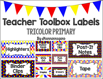 Editable Teacher Toolbox Labels - Tricolor Primary