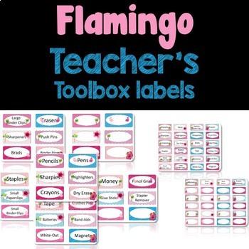 Editable Teacher Toolbox Labels- Tropical Flamingo Themed