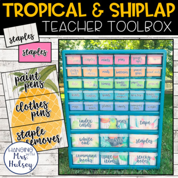 Editable Teacher Toolbox Labels (Tropical and Shiplap)