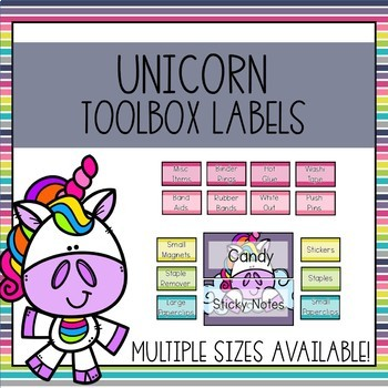 Editable Teacher Toolbox Labels (Unicorn)