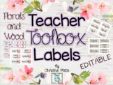 Editable Teacher Toolbox Labels ~ Watercolor Florals And Wood
