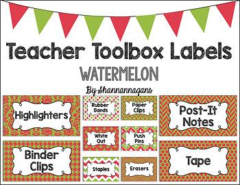 Editable Teacher Toolbox Labels - Watermelon