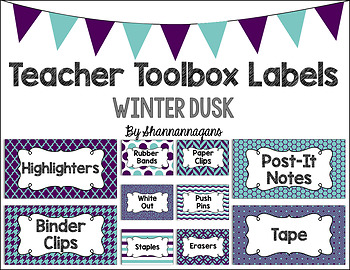 Editable Teacher Toolbox Labels - Winter Dusk