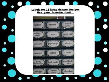Editable Teacher Toolbox Labels for 18 Large Drawer Unit w/ Aqua & White Dots