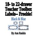 Editable Teacher Toolbox Labels in Black & Blue