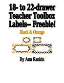 Editable Teacher Toolbox Labels in Black & Orange