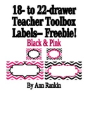 Editable Teacher Toolbox Labels in Black & Pink