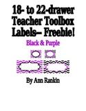 Editable Teacher Toolbox Labels in Black & Purple