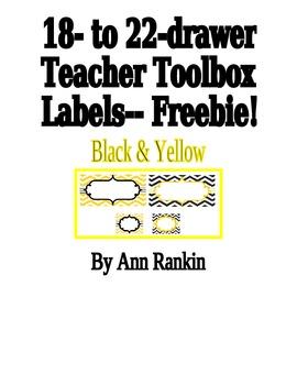 Editable Teacher Toolbox Labels in Black & Yellow