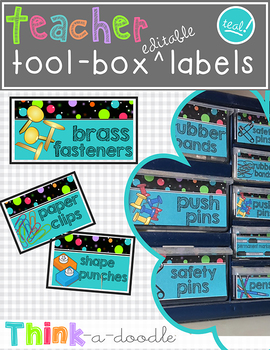 EDITABLE Teacher Toolbox Labels in TEAL!
