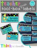 EDITABLE Teacher Toolbox Labels in TEAL!