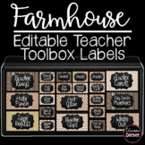 Editable Teacher Toolbox Labels rustic chalkboard