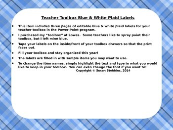 Editable Teacher Toolbox Labels with Blue Plaid Background