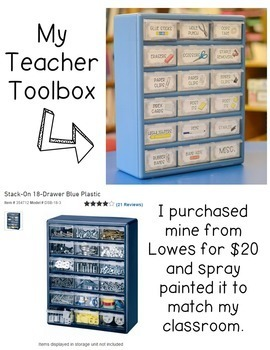 Editable Teacher Toolbox Labels with Clip Art - Gray