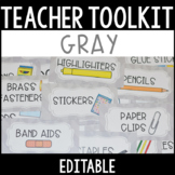 Editable Teacher Toolbox Labels with Clip Art - Gray