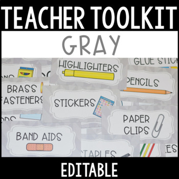Editable Teacher Toolbox Labels with Clip Art - set 2
