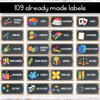 Editable Teacher Toolbox Labels with Pictures Editable Burlap Chalkboard Decor