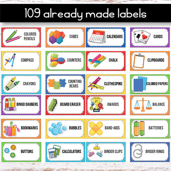 Editable Teacher Toolbox Labels with Pictures Editable Polka Dot Classroom Decor