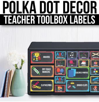 Editable Teacher Toolbox Labels with Pictures Editable Polka Dot Classroom Decor