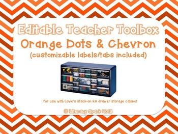 Editable Teacher Toolbox {Orange Dots & Chevron}