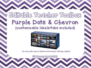 Editable Teacher Toolbox {Purple Dots & Chevron}