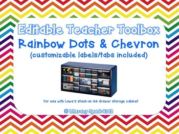Editable Teacher Toolbox {Rainbow Dots & Chevron}
