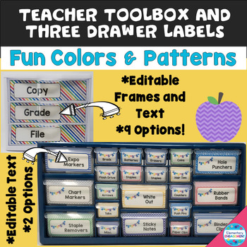 Editable Teacher Toolbox & Three Drawer Labels in Fun Colors & Patterns