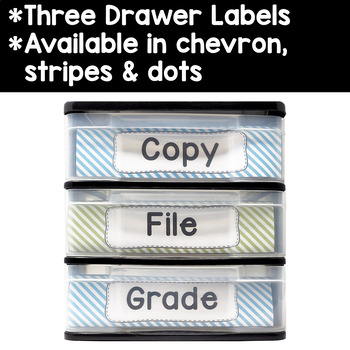 Editable Teacher Toolbox & Three Drawer Labels in Light Blue & Lime Green