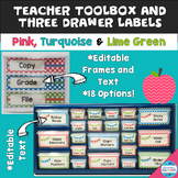 Editable Teacher Toolbox & Three Drawer Labels in Pink, Tu