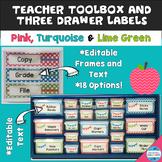 Editable Teacher Toolbox & Three Drawer Labels in Pink, Tu