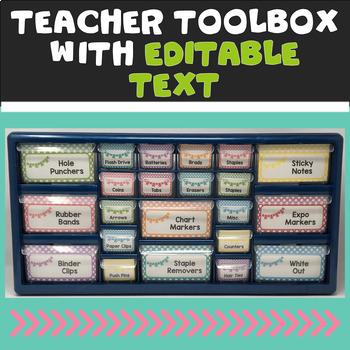 Editable Teacher Toolbox & Three Drawer Labels in Soft Chevron & Dots