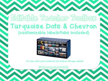 Editable Teacher Toolbox {Turquoise Dots & Chevron}