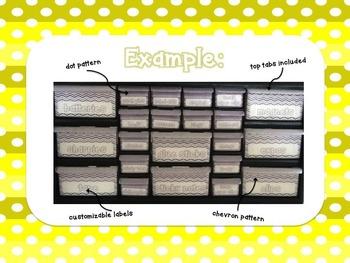 Editable Teacher Toolbox {Yellow Dots & Chevron}