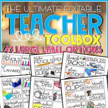 Editable Teacher Toolbox with Real Life Pictures
