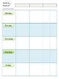 Editable Teacher Weekly Subject Planner