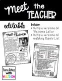 Editable Teacher Welcome Letter & Supply List