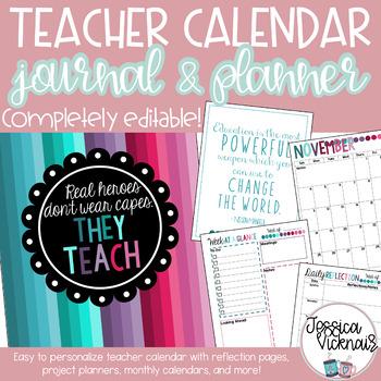 EDITABLE Teacher's Planner and Calendar {Jewel Tone}
