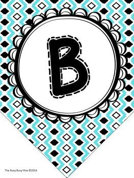 Editable Teal & Black Classroom Banner