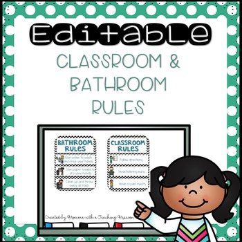 Editable Teal Classroom and Bathroom Rules Posters