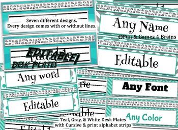 Editable Teal and Gray themed Desk Nameplates with manuscript & cursive alphabet