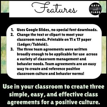 Editable Team Agreement Posters 11 x 17: Positive Classroom Culture Norms