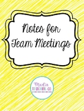 Editable Team Meeting Notes