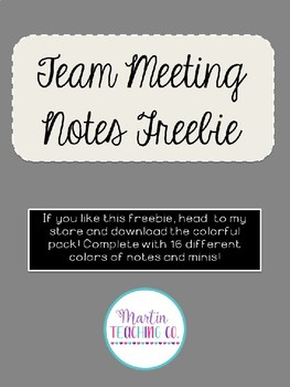 Editable Team Meeting Notes Freebie