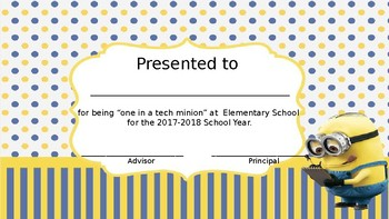 Editable Technology End of Year Certificate