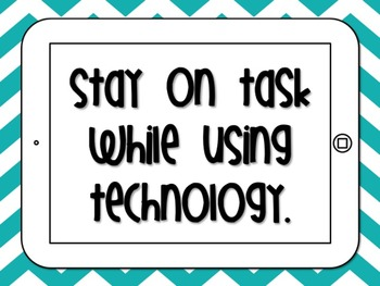 Technology Expectations Posters in Bright Chevron and Polka Dot {Editable}