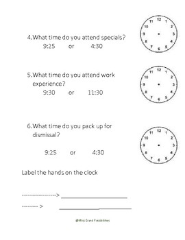 Editable Telling Time Activity