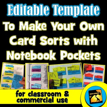 Editable Template for Card Sorts with Notebook Pockets- Classroom/Commercial Use
